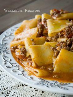 Easy Weeknight Rigatoni with Beef Marinara #Italian #easy #weeknight