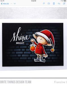 My favorite things elf Christmas card
