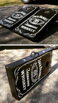 Jack Daniels Cornhole boards made by Cahill's Creative. The cornhole boards fold up into an easily portable case. #cornhole #cornholeboards #jackdaniels #cahillscreative