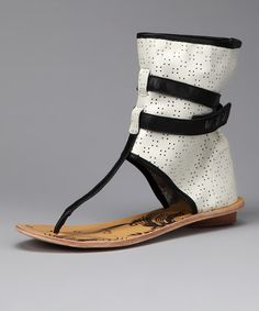 White Wrapped-Ankle Sandal by Industry...fugly