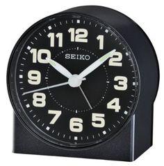 Seiko QHE084KLH Black Metallic Analog Alarm Clock