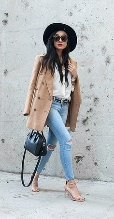 Aimee Santos of Swellmayde sported the Blake nude heel with her matching double-breasted coat.