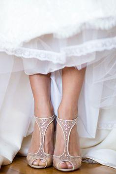 Detail of Christian Louboutin shoes on brides feet in her wedding dress | Ashley Gerrity Photography :: Ballyowen Golf Club