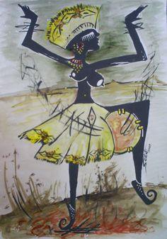 Dançarina - Tinta acrílica sobre papel