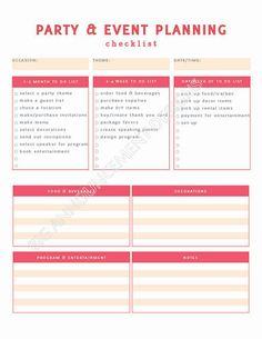 Printables Event Planning Worksheets party planning checklist and printable on pinterest