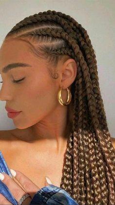 Natural Hair Braids, Braids For Black Hair, Loose Braids, Medium Hair Styles, Curly Hair Styles, Natural Hair Styles, Black Girl Braided Hairstyles, African Hairstyles, Short Box Braids Hairstyles