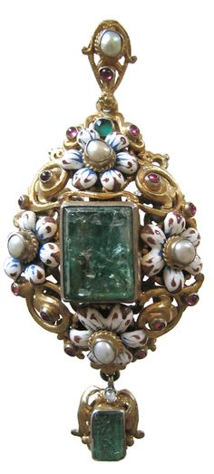 An Austro-Hungarian silver gilt pendant of Renaissance design, mounted with a large rectangular emerald, surrounded by enamelled flower heads set with cabochon garnets and pearls within foliate pattern scrolls, with pearl suspension loop and emerald drop, 19th century, 3 1/16 in long.