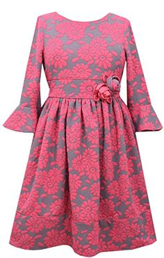 e69289f793b Amazon.com  Girls Plus Coral 3 4 Bell Sleeve Floral Jacquard Knit Fit and  Flare Dress