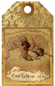 Printables Cherubs Gold Grunge Digital Download Gift Tag Card Tags, Gift Tags, Ribbon Holders, Christmas Scrapbook, Vintage Tags, Printing Labels, Cherub, Collage Sheet, Note Cards