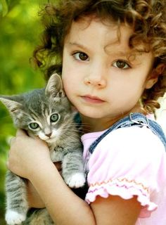 little girl with kitten - Google Search