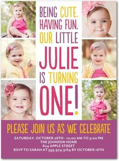 Business Christmas Cards & Business Holiday Cards At Tiny Prints Corporate. 1 Year Birthday Party Ideas, Birthday Bash, First Birthday Parties, Birthday Party Invitations, First Birthdays, Birthday Cakes, Creative Birthday Cards, Business Christmas Cards, Baby Girl First Birthday