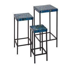 Imax Peacock Blue Mosaic Tables, Set Of Three On SALE