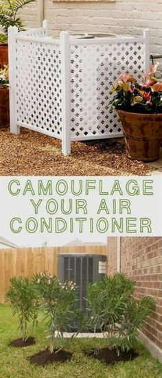 Easy and Cheap Curb Appeal Ideas Anyone Can Do (on a budget!) Hide your air conditioner! ~ 17 Impressive Curb Appeal Ideas (cheap and easy!)Hide your air conditioner! ~ 17 Impressive Curb Appeal Ideas (cheap and easy! Backyard Projects, Outdoor Projects, Backyard Patio, Screened Patio, Patio Roof, Diy Projects, Verge, Backyard Ideas For Small Yards, Backyard Makeover