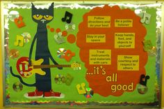 Love Meredith's Pete the Cat bulletin board!  So COOL! Instead do, some kind of scripture about sing to The Lord a new song