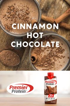 A recipe for Cinnamon Hot Chocolate from Premier Protein. Protein Packed Snacks, Protein Shake Recipes, Protein Foods, Protein Smoothies, Fruit Smoothies, High Protein, Yummy Drinks, Healthy Drinks, Eating Healthy