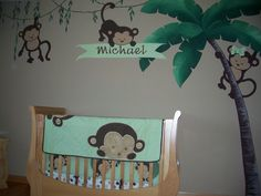 This will be our nursery if it a Boy but I will have the tree continúe to the ceiling with monkeys hanging down