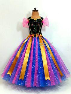 Anna inspired Tutu dress, long skirted tutu dress  Frozen, Frozen party, Frozen party ideas, Frozen fancy dress, Frozen tutu dress.  Find more Frozen Party ideas on: www.frozenpartyideas.com