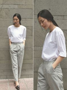 sweet and simple Casual Work Outfits, Modest Outfits, Simple Outfits, Classy Outfits, Cool Outfits, Asian Fashion, Look Fashion, Fashion Outfits, Uniqlo Women Outfit