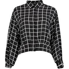 Ina Grid Print Chiffon Blouse (49 MXN) ❤ liked on Polyvore featuring tops, blouses, shirts, blusas, clothes - tops, shirt top, chiffon tops, chiffon blouses, shirt blouse and chiffon shirt