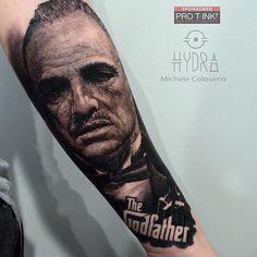 Repost : @michelecol90 The Godfather. @pro_t_ink  @armyztattoomachines  For info hydraskindesign@gmail.com  #tattoo #tattoos #thegodfather #blackandgreytattoo #tattoostation #protink #inked #inkedup #intenzeink #intenzepride #intenzeproducts #sullen #inkedmag #inkedmagazine #freshlyinked #tattooink #tattoosociety #sponsored #tattooing #tattooist #tattooart #dad #tattooartist #instatattoo #tattoodo #blackswan #evo24 #evo10