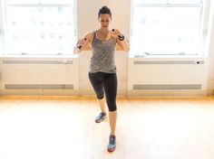 Stand with feet hip-width apart, one forward while the other is back. With the band looped around a bar or doorknob behind you, punch out right and left, alternating 100 times on each side.