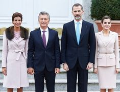 King Felipe and Queen Letizia receive President Mauricio Macri