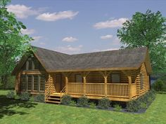 The fully customizable ranch-style Aztec Log Home Plan by Honest Abe Log Homes, Inc. features a vaulted ceiling, covered porch and two full baths. Log Cabin Floor Plans, Log Home Plans, House Floor Plans, Barn Plans, Log Cabin Homes, Log Cabins, Mountain Cabins, Prefab Cabins, Rustic Cabins