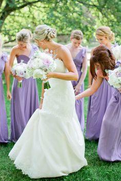 Bridesmaids in lavender | Kristyn Hogan Photography | see more on: http://burnettsboards.com/2014/10/lavender-southern-wedding/