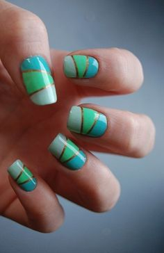 Cool blue and green nails