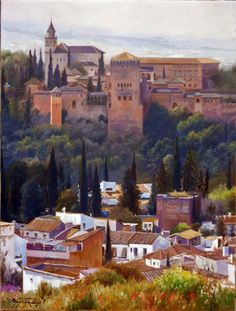 Alhambra Spain, Andalusia Spain, Granada Spain, Grenade, Islamic Architecture, Spanish Colonial, Watercolor Artists, Conceptual Art, Landscape Paintings
