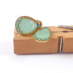 Gold studs earrings post earrings  mint small by SigalitAlcalai, $34.00