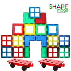 Magnetic Stick N Stack Rainbow Mags 40 Piece Glass Color Magnetic Tiles with