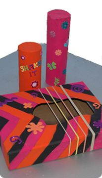 Activity: Make your own music - shaker, drum, tambourine, and links to rainstick & box guitar - #DIY homemade musical instrument
