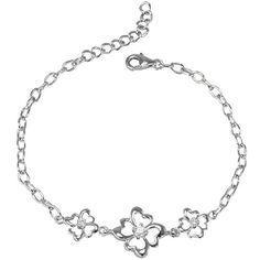 Four Leaf Clover Cubic Zirconia Lucky Charm Silver Bracelet Dahlia
