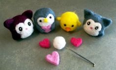 needle felted animal friends! ♥ I am in love with making these!