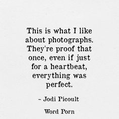 This is what I like about photographs. They're proof that once, even if just for a heartbeat, everything was perfect. - Jodi Picoult