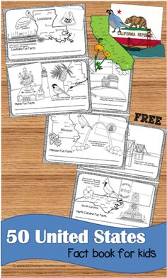 FREE United States Fact Book for kids - Love this for kids to learn about all 50 states visually while they color state map, state flag, state landmark, state bird, and state flower Geography For Kids, Geography Activities, Maps For Kids, Geography Lessons, Geography Quiz, Geography Worksheets, Free Stuff For Kids, Teaching Geography Elementary, 2nd Grade Geography