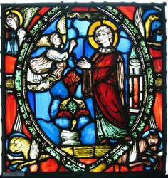 Stained glass fragment with an Angel Appearing to a Deacon Saint with the Symbols of the Four Evangelists Date: century and later additions Geography: Made in, Clermont-Ferrand, France Culture: French Medium: Stained glass High Middle Ages, Stained Glass Church, Church Windows, The Cloisters, Church Architecture, 12th Century, Antiquities, Alters, Arches