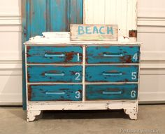 Painted Chest in Blue and White with Stenciled Numbers Petticoat Junktion