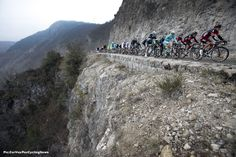 Paris-Nice'15 St.6: Philippe Gilbert (BMC) leads the bunch along a very dangerous looking French mountain road on the way to Nice. Don't get too close to the edge! Pic:CorVos/PezCyclingNews.