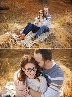 Fall Engagement Session - Fiancé - Man - Woman - Billings - Hugging - Grass - Blanket - Sitting - Autumn - Outdoor - Glasses - Cream Sweater - Striped Shirt - Brown Boots - Jeans - Montana Wedding Photographer - Sara Nagel Photography