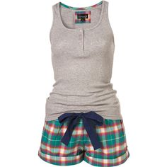 Pink Check Vest and Short Set ❤ liked on Polyvore