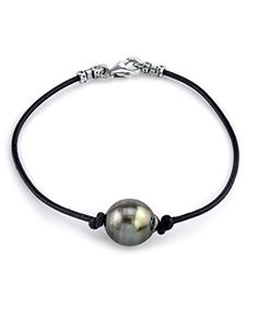 10mm Tahitian Baroque Cultured Pearl Leather Bracelet  AAAA Quality >>> Want to know more, click on the image.