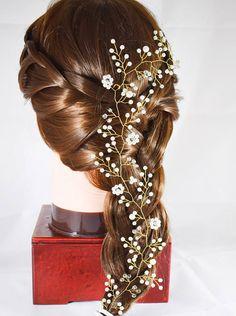 Diadema novia pelo vid perla pelo vid boda casco nupcial