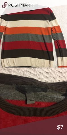 Men's sweater Size medium men's old navy sweater. Red, gray, brown, orange and cream striped. Like new. Worn only a couple of times. Old Navy Sweaters Crewneck