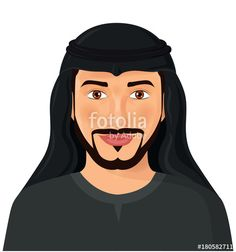 Vector: Arabian man face front view isolated on white avatar portrait vector Illustration