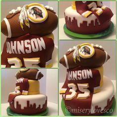 The Washington Redskins fan bday cake. All edible. Made with real bits of Redskins. #thisismiserybusiness #miserylovesco #miserybusiness #fondantfrankenstein #buzzedbaker #whiskeyandawhisk #j0momma #bourbonandabrush #cake #cakesta #instacake #fondant #customcake #washington #redskins #washingtonredskins #nfl #football #bday #fan #yesiknowthisisntaraidersoraninerscakeidontcaretheirfumdscleared #playball