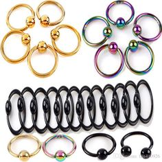 2016 Nose Rings Fashion Stainless Steel Titanium Colored Nose Ring Eyebrow Ring…