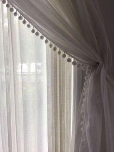 Muslin curtain with Pom Pom edge   www.normandeauwc.com/