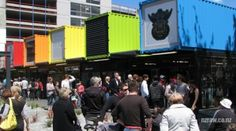 Another mall project made from shipping containers. A shipping container-based mall project was also opened in New Zealand, but it is on a whole other scale and with a different philosophy. This brightly colored shopping facility houses 27 stores. Shipping Container Conversions, Shipping Container Homes, Shipping Containers, Container Architecture, Eco Architecture, Container Shop, Container House Design, Beautiful Homes, Most Beautiful